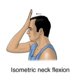isometric neck flexion exercise for neck strain rehabilitation