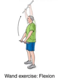 wand exercise with flexion for frozen shoulder rehabilitation