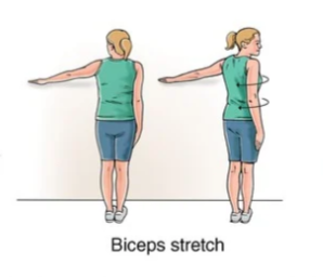 biceps stretch for frozen shoulder rehabilitation