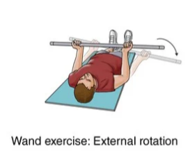wand exercise with external rotation for frozen shoulder rehabilitation